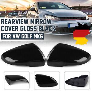 2x-Spiegelkappe-Aussenspiegel-Gehaeuse-Glanz-Schwarz-Fuer-VW-Golf-GTI-VI-MK6-Touran