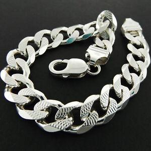 759548295 Image is loading Mens-925-Sterling-Silver-Bracelet-Bangle-Heavy-Bling-