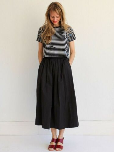 Jesse Kamm Ranch Skirt Black Cotton XS