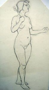 FIGURE-STUDY-A-STANDING-FACING-RIGHT-NUDE-HOLDING-STAFF-PENCIL-ENG-SCH-C1930