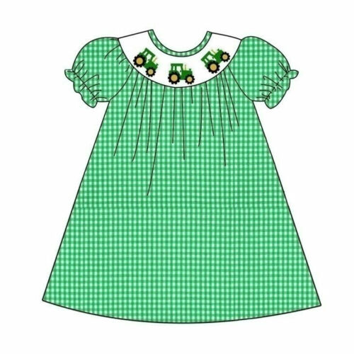 Smocked Green tractor bishop Dress NEW boutique *