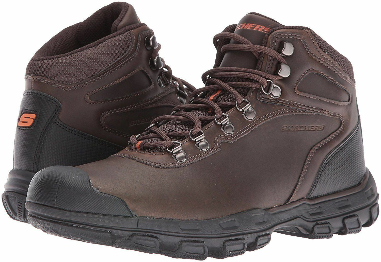 Mens Skechers Relaxed Fit  Garver Primero Chocolate 64730 Work bottes