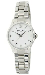 Bulova Women's Quartz Silver-Tone White Mother of Pearl Dial 28mm Watch 96X139