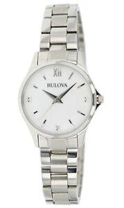 Bulova Women's Quartz Silver-Tone White Mother of Pearl Dial 28mm Watch 96X139