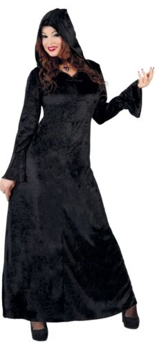 Femmes Long Noir à Capuche Sorcière Halloween Horror Fancy Dress Costume Outfit