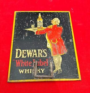 1940's VINTAGE RARE DEWARS WHITE LABEL WHISKY ADV. TIN-PAPER SIGN BOARD, ENGLAND