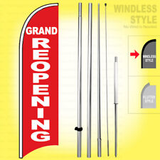 Grand Re Opening Windless Swooper Flag Kit 15 Feather Banner Sign Rwb H