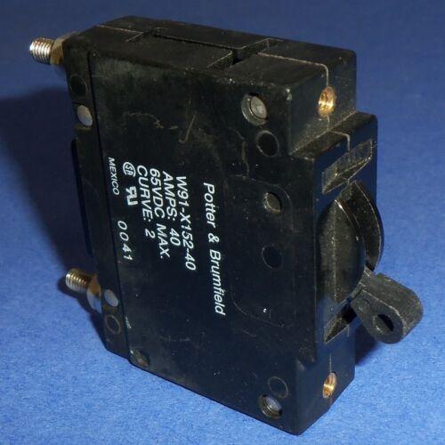 POTTER /& BRUMFIELD SINGLE-POLE 40A CIRCUIT BREAKER W91-X152-40 *PZB*