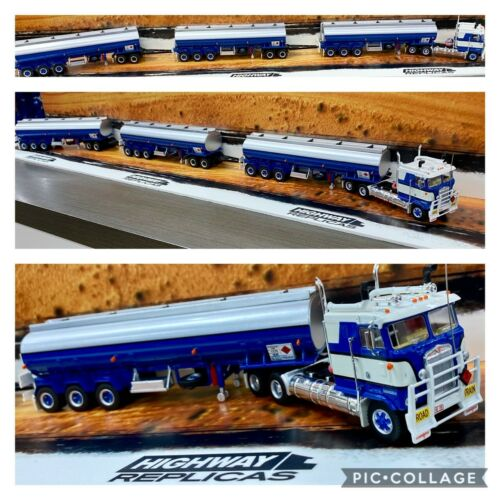 HIGHWAY REPLICAS TANKER BLUE SILVER ROAD TRAIN 1:64 TRAILER /& DOLLY TRUCK