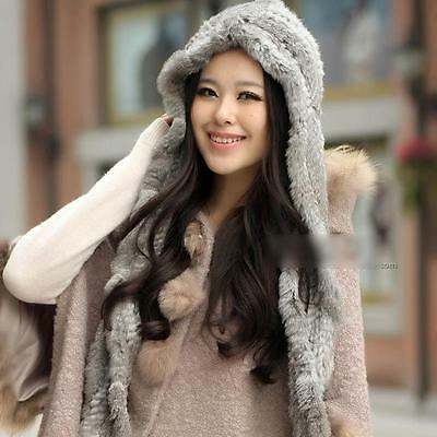 100% Real Genuine Knitted Rabbit Fur Hat Scarf Cap Hooded Winter Warm Fashion