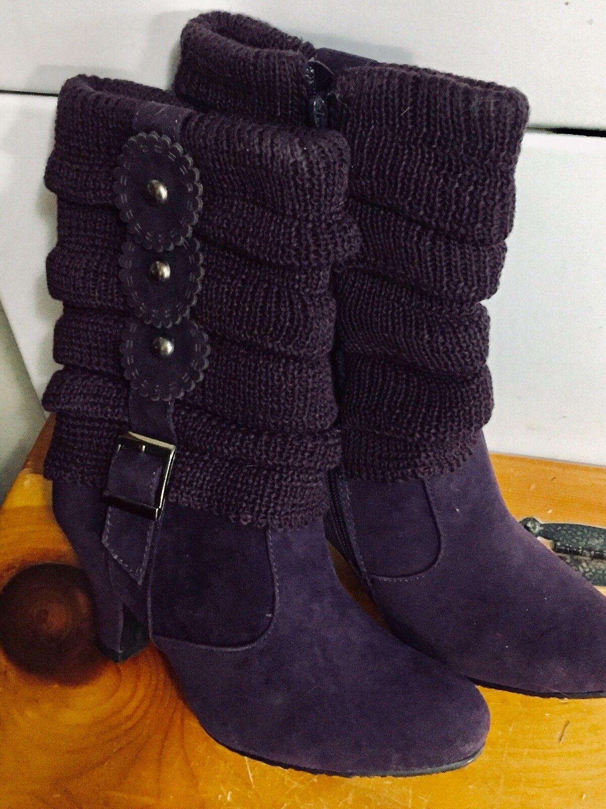Reneeze Daim Fermeture Éclair Latérale bottes-Souple En Tricot Top-belle Couleur et détails