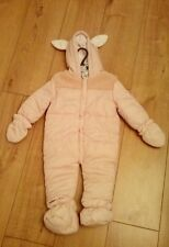 New Baby Girls Pink Pramsuit with Removable Mittens & Booties Age 6/9 Months