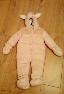 6f3e6af9b New Baby Girls Warm Pink Snowsuit - Removable Mittens   Booties Age ...