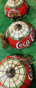 Vintage COCA COLA Coke Tiffany Style Resin Pool Bar Hanging Lights Lamps