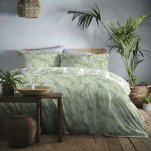 BOTANICAL PALM LEAF LEAVES GREEN WHITE COTTON BLEND DOUBLE DUVET COVER