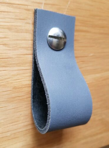 Genuine Soft Grey Leather Drawer Pull or Drawer Handle Cupboard Handle