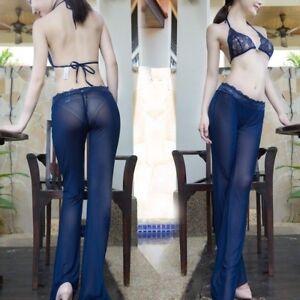 Damen-Netz-Schier-Leggings-durchsichtig-Spitze-Schlag-Outfit-ausgestellt-Hose