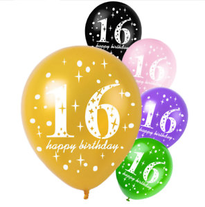 10pcs 16th Happy Birthday Printed Latex Balloons Birthday Party Decorations
