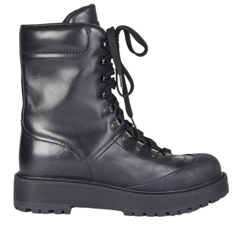 55175 Auténtico Auténtico Auténtico Prada Linea Rossa Zapatos botas De Combate De Cuero Negro 40  directo de fábrica