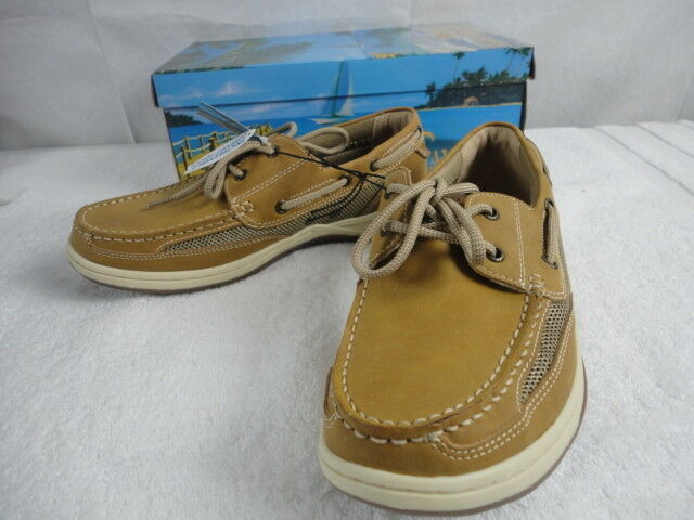 865124eb372c Details about Margaritaville Men's Anchor Lace Boat Shoes Light Tan Size 9