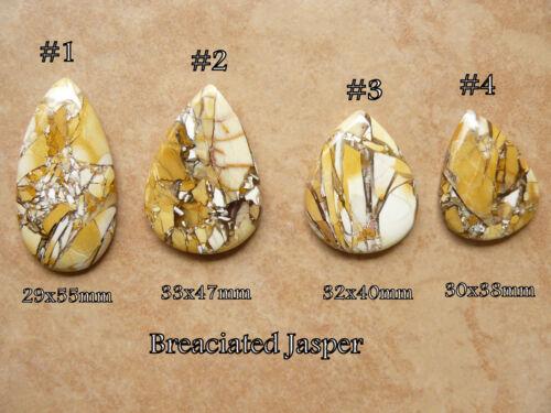 4 Stunning Brecciated Jasper Cabochons Pear shaped natural scenic wonders