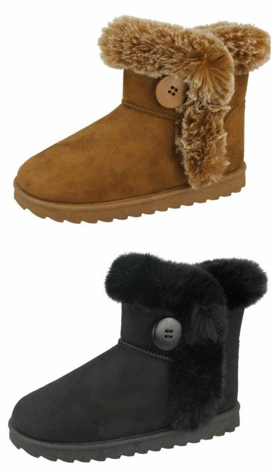 Spot On H4R142 Girls Ankle Boot Tan or Black Faux Suede UK10-2 (R28B) J-K