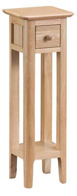 Bergen Light Oak Slim 1 Drawer Plant Stand Scandinavian Style Tall End Table