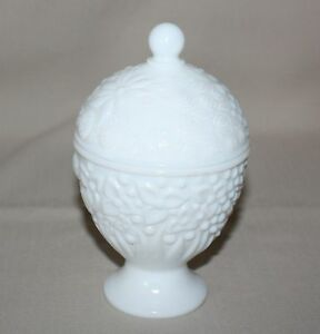 1960s White Milk Glass Avon Covered Candy Dish Footed ...