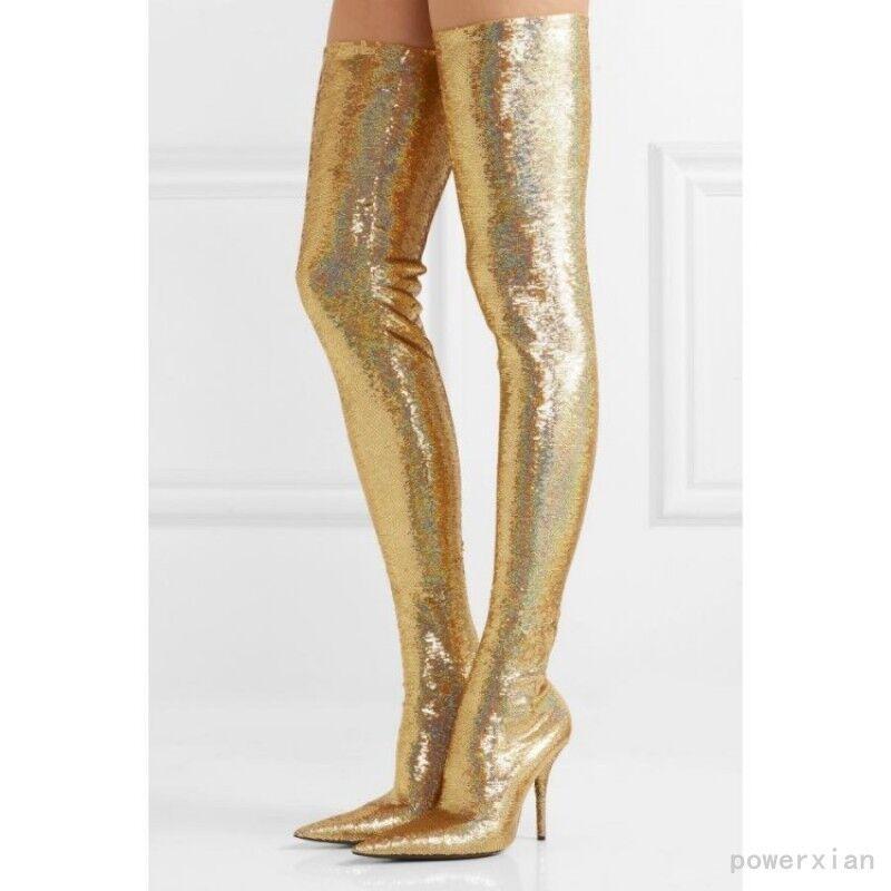 oro donna Sexy Slim Thigh High stivali Stretchy Pointy Toe Stiletto scarpe Pull On