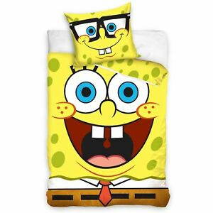 Spongebob-Squarepants-Set-Housse-de-Couette-Simple-Europeen-Taille-100-Coton