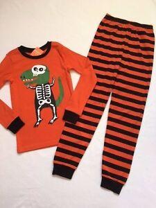 image is loading nwt gymboree halloween orange striped boys dino skeleton
