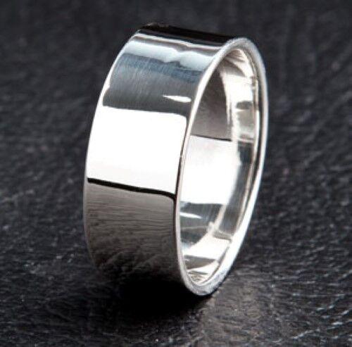 Llano sólido de plata esterlina .925 anillo de banda de Hombre Nuevo Anillo Boda Compromiso Anillo
