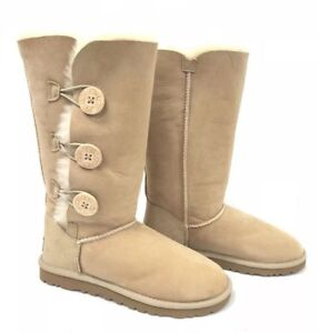 8caba56c0dc Details about BNIB Ugg AUS Bailey Button Triplet Button 1873 W SAN Boots  Sand Shearling Tall 9