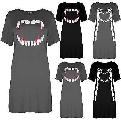 Femme Femmes Halloween saignement Vampire dent Baggy Tunique Long T-shirt robe Haut