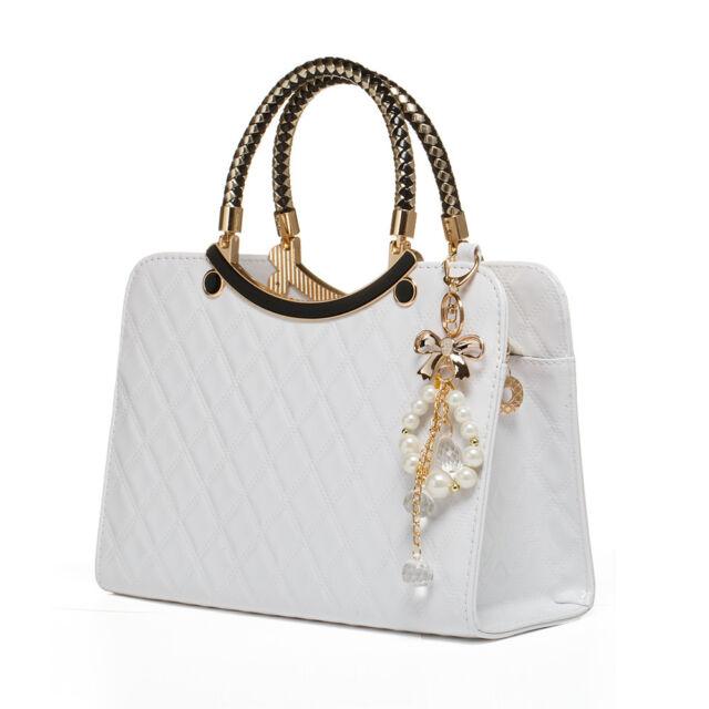 fbd80213da38 Ladies White Leather Handbag New Tote Designer Style Celebrity Shoulder Bag