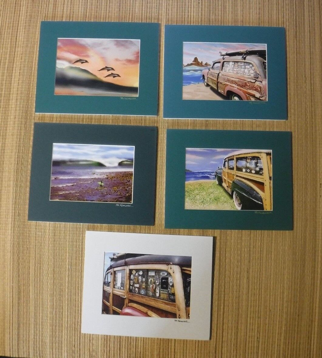 NEW MATTED SIGNED PHOTOGRAPH  SURF ART WOODIES WAVES  8  X 10  SET OF 5