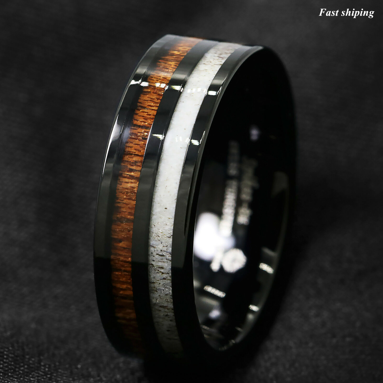 ranger titanium turquoise products antler wood band deer the cocobolo ring wedding rings mens and