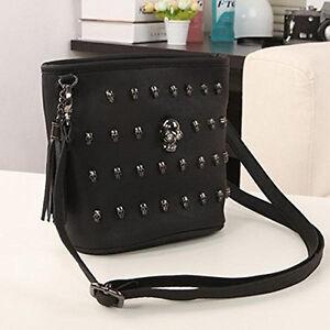 Women-Punk-Skull-Rivets-PU-Leather-Handbag-Tote-Shoulder-Crossbody-Black-Bag-US