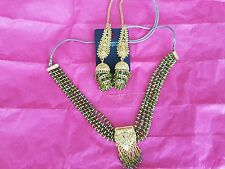 Prestige 4 Layer Beads and Gold Necklace and Earings Jewellery Set