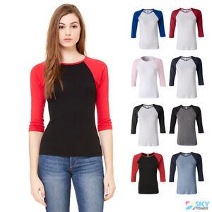 88717852 Bella Women's Raglan 3/4 Sleeve Slim Fit Ladies T-Shirt Baseball Tee ...