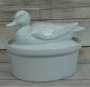 Apilco-Porcelain-France-Mallard-Duck-Figural-White-Covered-Oval-Casserole-Dish