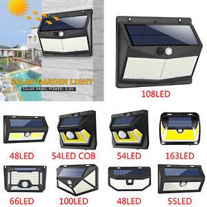100-108LED-Solar-Power-PIR-Motion-Sensor-Wall-Light-Outdoor-Garden-Security-Lamp