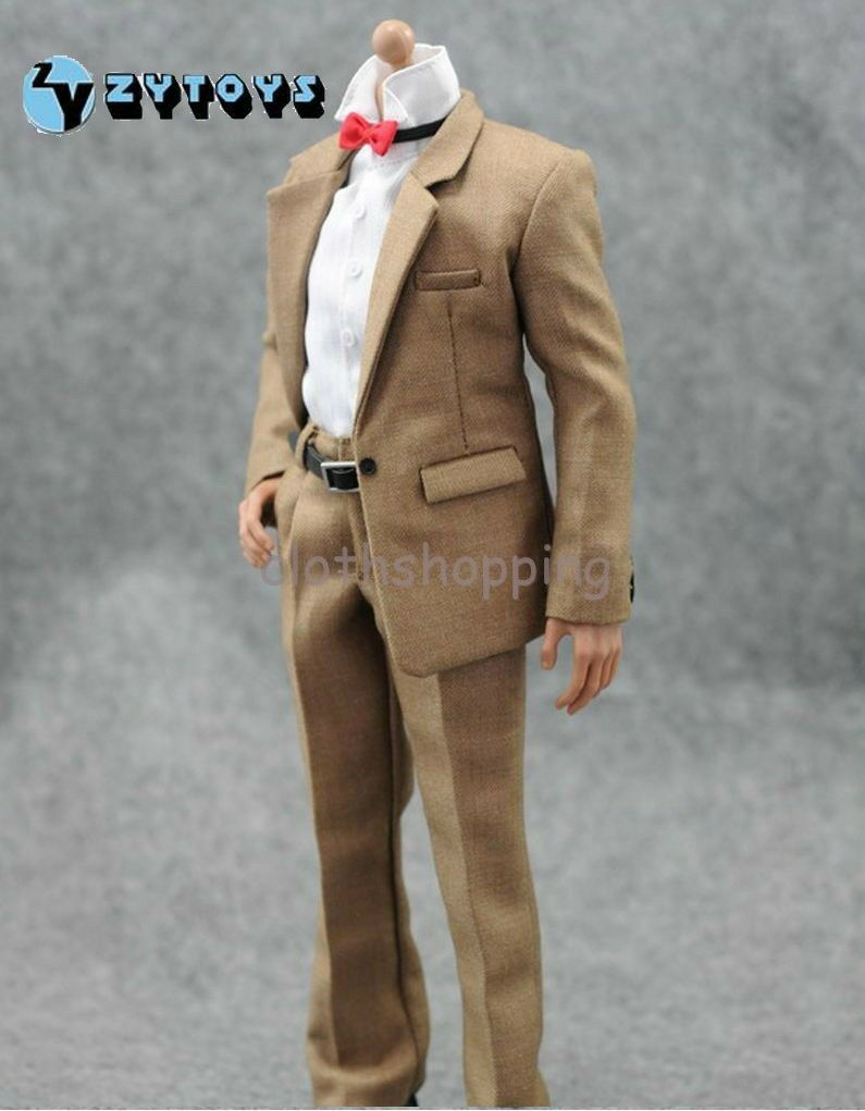 Hot Figure Toys 1 6 Khaki Suit Pants Pants Pants White Shirt Clothes Set For 12  Male Body ba596c