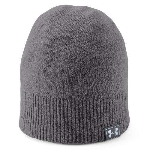 Under Armour UA ColdGear Reactor Knit Mens Grey Reflective Running Beanie Hat