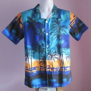 de690bdac Image is loading VTG-Mens-APTRO-Blue-Multi-Hawaiian-Terivole-Shortsleeve-