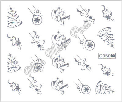 Nail Art Water Decals Transfers Stickers Christmas Xmas Snow Silver or Gold C050