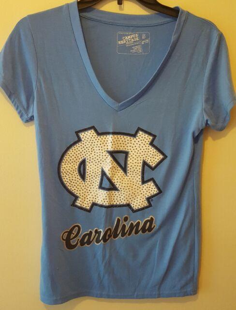 North Carolina Tar Heels Bling Women's Blue T Shirt Size Small