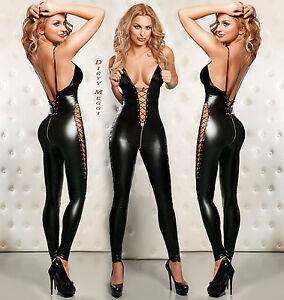 Catsuit-Overall-Wetlook-fetisch-Domina-schwarz-S-M-36-38-Lack-Leder-Optik-BDSM