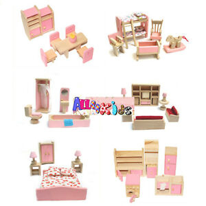 Image Is Loading Wooden Doll House Dollhouse Furniture Miniature 6 Rooms