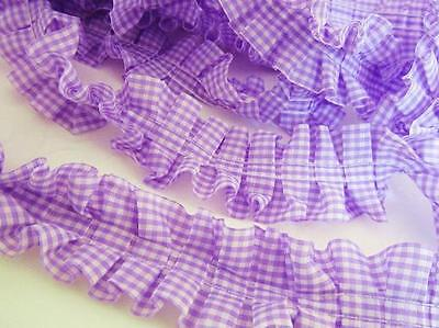 "6 yards Pleated Gingham Check Ruffled Trim 1.5/"" Trimming//sewing//Light T117-Blue"